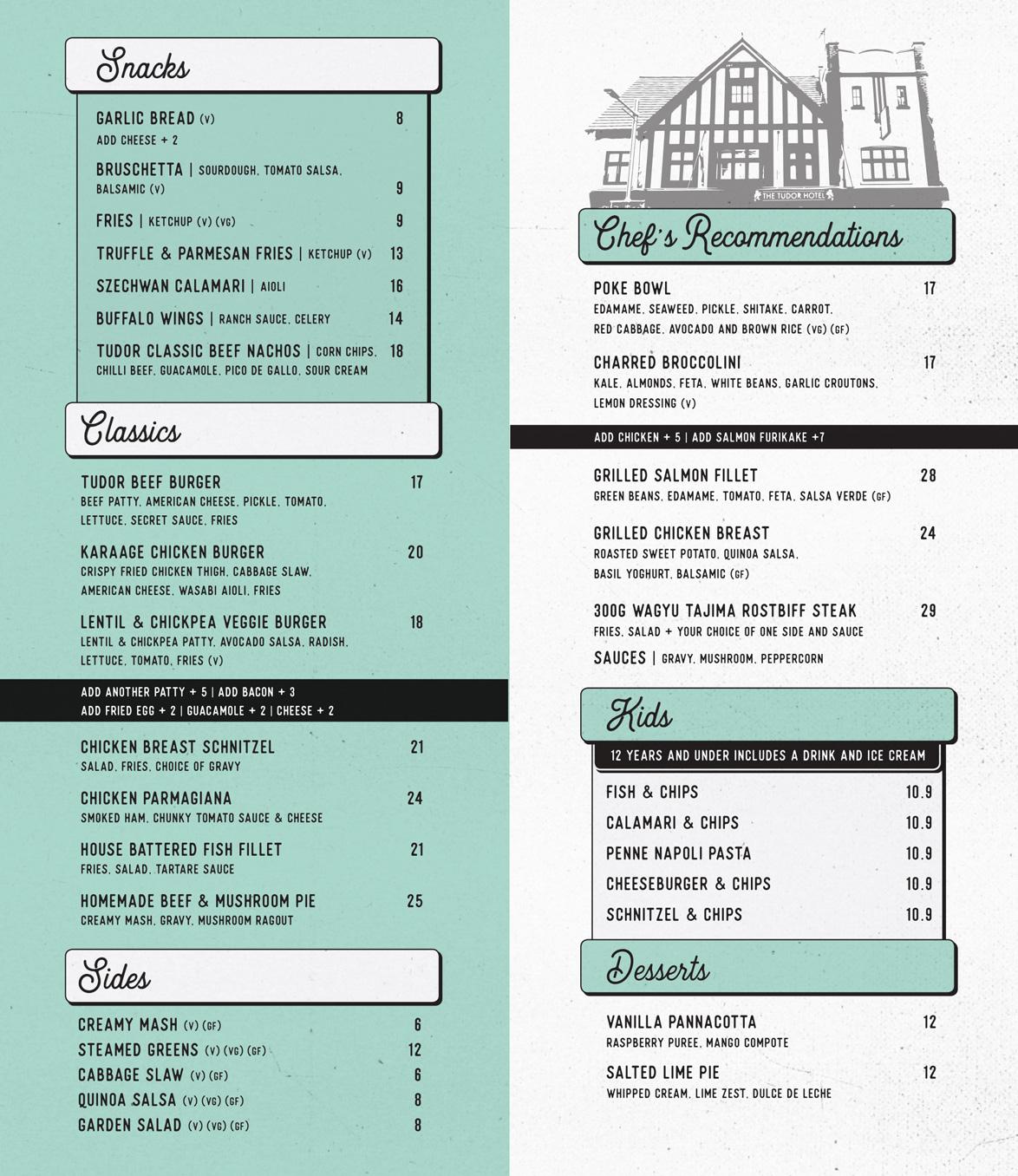 Tudor Redfern food menu