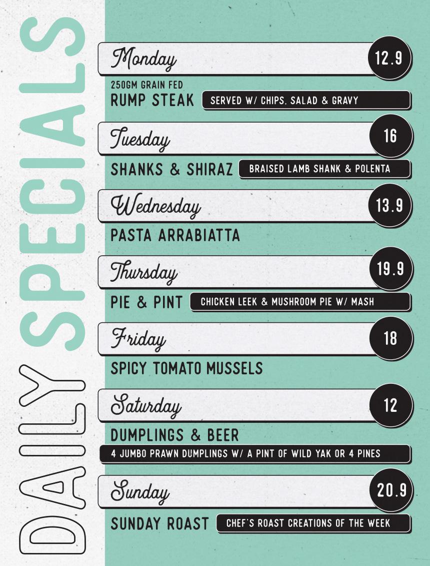 Tudor daily food specials menu